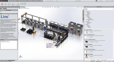 """Lino® 3D layout ist als """"single-window-integration"""" bestmöglich in das SolidWorks-Bedienkonzept integriert."""
