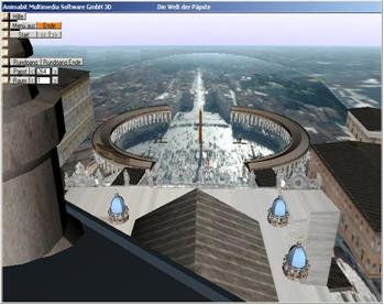 In the 3D papacy documentation the viewer becomes part of the event. For example he can fly by and over historical buildings and can experience a special view at the St. Peter's place to Rome