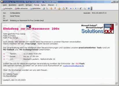Personalisierte Einzel/Serien-Mails in HTML inkl. Attachments