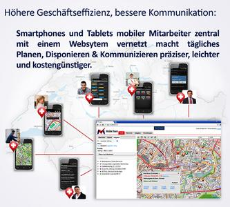 Smartphones & Tablets connected by mobile apps to corporate web system