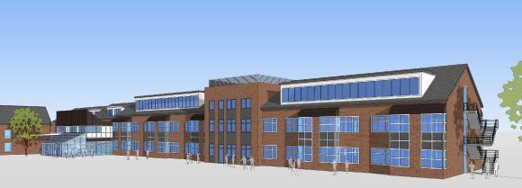 Die neuen Laborbereiche (rechts) werden über einen Verbindungsbau (Bildmitte) mit dem bestehenden Gebäudekomplex verbunden, der in einem zweiten Schritt umfassend modernisiert wird (Bildquelle: Architekturbüro Walter von Garrel)