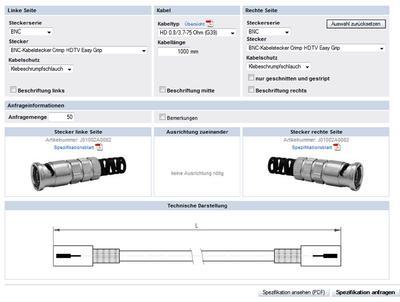 Besucher des Telegärtner Coax Online-Konfigurator können nun auch gängige HDTV taugliche Kabeltypen, verlustarme Low Loss Kabel oder schleppkettentaugliche Kabel einfach und schnell online planen und anfragen