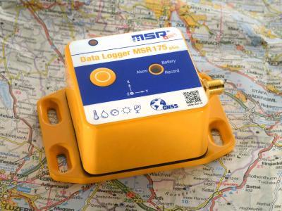 Der Transport-Datenlogger MSR175plus mit GPS erfasst Schockwerte gleichzeitig mit ±15 g und ±200 g