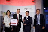 Von links nach rechts: Wirtschaftsstaatssekretärin Daniela Schmitt, Gerald Richter (ECOS), Paul Marx (ECOS), Dr. Ulrich Link (Mitglied des Vorstand der ISB)