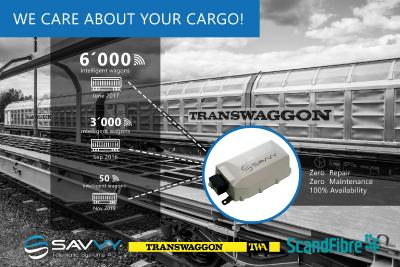 Intelligent freight wagons: TRANSWAGGON and ScandFibre equip 6,000 freight wagons with SAVVY® telematics devices