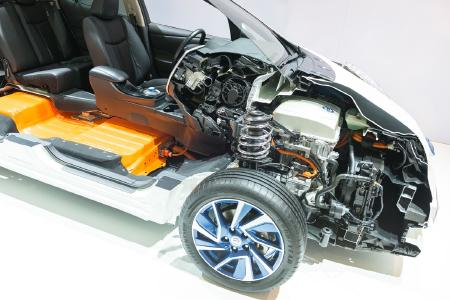 Display of a Chassis of an electric car with battery and drive
