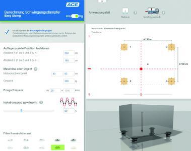 Unter www.ace-ace.de/de/berechnungen/schwingungsdaempfung.html können Nutzer mehr als 2/3 aller typischen Auslegungsfälle in kürzester Zeit selbstständig berechnen und sich dafür die ideal passende Maschinenlagerung anzeigen lassen (Grafik: ACE Stoßdämpfer GmbH)