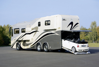 VARIO Perfect Platinum: luxury RV. Micro car on board in rear end garage.