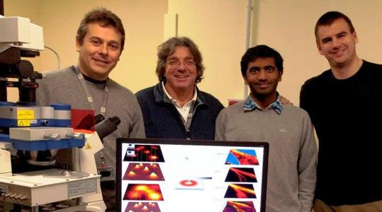 Dr Claudio Canale, Professor Alberto Diaspro, Jenu Chacko-Varghese and Dr Benjamin Harke – the group to have coupled STED and AFM at  the Department of Nanophyiscs, IIT, Genova