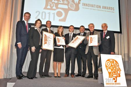 Heraeus Innovation Awards  2011 (from left): Jan Rinnert (Vice Chairman of the Heraeus Holding Board of Management), Dr. Tanja Eckardt (Heraeus Innovation Management), Michael Hahn (Best Process Innovation), Nicole Gübler (3rd place Product), Jan Cuypers (Best Product Innovation), Dr. Frank Heinricht (Chairman of the Heraeus Holding Board of Management), Dr. Stephan Kirchmeyer (2nd place Product), Dr. Wulf Brämer (Heraeus Innovation Management)