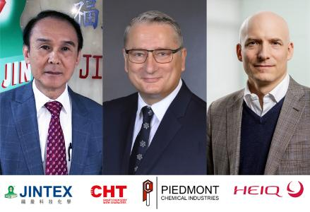 From left: David Juang (Jintex), Ralf Kattanek (CHT) and Carlo Centonze (HeiQ) (image provided by HeiQ)