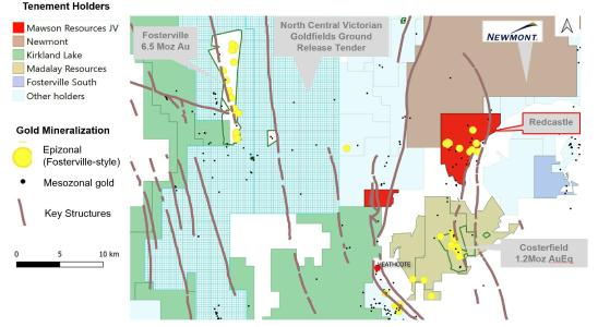 Figure 1: Map of Redcastle in relation to Fosterville and Costerfield. Redcastle is one of the most significant historic epizonal high-grade goldfields in Victoria. A high-grade epizonal gold system with visible gold in quartz (+/- stibnite)
