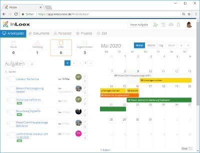 Abb. 1 Uni-Projekte mit InLoox now! Web App organisieren