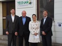 (From left) Dr. Lars Ziegler, Juergen Pfitzer, Claudia Cappra (Braskem), Helmut Naegele after signing the contract