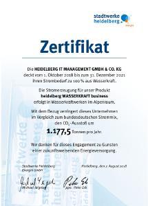 Heidelberg iT schließt mit den Stadtwerken Heidelberg Dreijahresvertrag über Ökostrom aus 100 Prozent Wasserkraft.