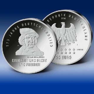"""Die neue 20-Euro-Silber-Gedenkmünze """"175 Jahre Deutschlandlied"""", Bild: BADV"""