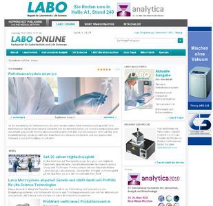 Die neue Startseite von LABO Online