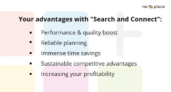"""Your advantages with the """"Search and connect""""-function from NIC-place"""