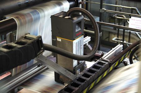 Das KODAK PROSPER S30 Eindrucksystem im Überbau der COLORMAN-Rotation in Aktion