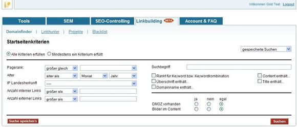 Domainfinder - Funktion aus dem neuen Linkbuilding-Modul von SEOlytics