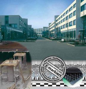 Das Bild zeigt als Beispiel den Einsatz CE-markierter Dränmatten der Firma Nophadrain bei genutzten Bauwerken