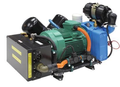 Hydrovane T02 rotary compressor, extremely compact, water-cooled version with integrated, frequency-controlled controller. The Hydrovane Compressor Smart Protocol precisely adjusts the rotary speed of the compressor to suit the compressed air requirement of the vehicle / Images: Gardner Denver Transport Solutions, Senden, Germany