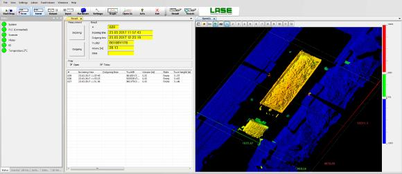Screenshot LaseTVM application software with volume data and 3D point cloud / © LASE