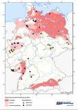 Abb.1: Die Grafik des LIAG zeigt die derzeit durch Stein- und Braunkohle betriebenen Heizwerke, welche noch nicht endgültig stillgelegt sind und gleichzeitig Fernwärme auskoppeln. Zusätzlich ist in der Grafik das hydrothermische Potenzial der Geothermie ab 60 °C des Thermalwassers hinterlegt. Im Norddeutschen Becken, im Oberrheingraben und im Süddeutschen Molassebecken sind thermalwasserführende Zielhorizonte für die tiefengeothermische Nutzung bekannt...