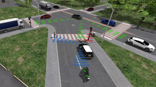 Realistic 3D scene of vehicles driving around a city: ESI Pro-SiVIC™ enables engineers to model how sensors perceive scenes and how smart products make decisions