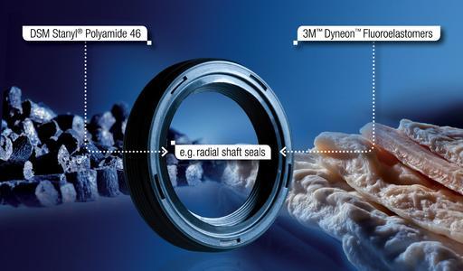 The new 2 component material consists of 3M Dyneon Fluoroelastomer und Stanyl® PA 46 von DSM