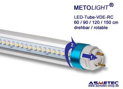 METOLIGHT LED-VDE Röhren sind mit drehbaren-fixierbaren Sockeln versehen, so dass diese auch in Leuchten mit seitlichen G13-Fassungen eingesetzt werden können.