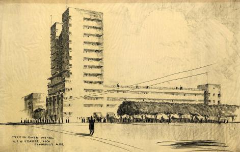 H. F. W. Kramer, Hotel-Hochhaus in Frankfurt, Studie zwischen 1932-1936; Graphit und Kohle auf Transparentpapier