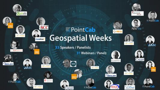 3 months. 31 webinars. 33 speakers.  Get ready for the PointCab Geospatial Weeks. We want to support you in your work during the pandemic with digital webinars again. This year, we were able to attract even more experts from a wide range of fields. Don't miss out on one of the biggest webinar series the geospatial community has ever seen.