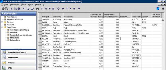 Belegarten der Reisekostenabrechnung (Quelle: Nemetschek Bausoftware GmbH)