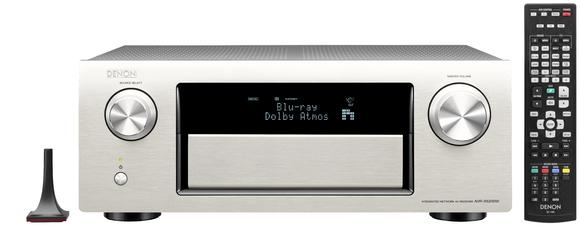 Denon AVR-X5200W in Premium-Silber mit Audyssey-Mikrofon und Fernbedienung