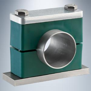 Pipe clamp of the Heavy Series with cover plate made of aluminium, Courtesy of Walter Stauffenberg GmbH & Co. KG