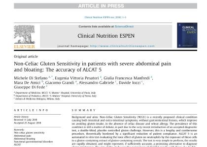 Non-Celiac Gluten Sensitivity in patients with severe abdominal pain and bloating: The accuracy of ALCAT 5