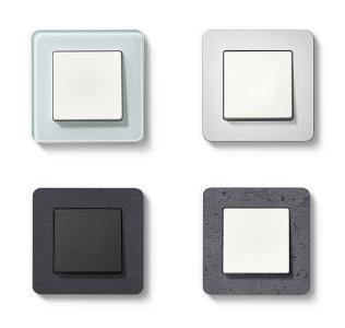 Berker Q.7: Neben drei Kunststoffvarianten sind auf Wunsch auch edle Echtmaterialien in Aluminium, Edelstahl, Glas, Schiefer natur und Beton strukturiert erhältlich