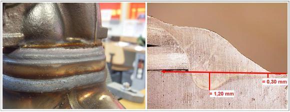 Der Makroschliff einer Dreiblechverbindung eines Turboladergehäuses am Krümmer zeigt augenfällig die einwandfreie Qualität der Schweißnaht und -verbindung