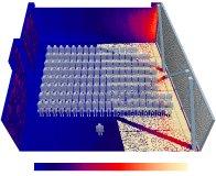 Die detailliert modellierte Perforation des Sonnenschutzes bildet sich mit Schattenwurf der Stützstreben auf der Bodenfläche ab und ermöglicht eine sehr genaue Berechnung der entstehenden Wärmebelastung. (© HTCO GmbH)