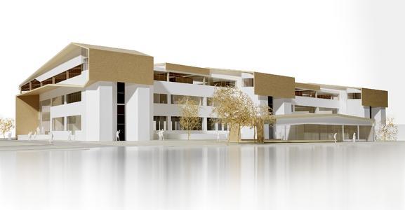 Holz über Beton: Charakteristisch für das TM50 sind die übergelegten Holzdächer mit ihren weit auskragenden Überständen, die die vorhandenen Bestandsflachdächer überlagern. (Entwurf: Daniel Votteler, Architekt)