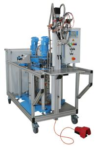Mobile ViscoTec Shimming system including material emptying and 2K-dispenser