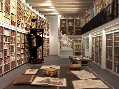 Blick in das Innere des von Mario Botta errichteten Gebäudes der Stiftung Bibliothek Werner Oechslin in Einsiedeln / Foto: Stiftung Bibliothek Werner Oechslin