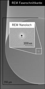 """""""Nanoloch""""-Faser ermöglicht neue Beobachtungsmethoden: Im Kern der Faser befindet sich ein Nanoloch mit einem Durchmesser von 200 Nanometern, das sich entlang der gesamten Faser ausbreitet. In dieses Loch werden in Wasser schwimmende Testviren eingefüllt und Licht in den Faserkern eingekoppelt. Mittels Lichtstreuung können die Größe und die Bewegung der Viren bestimmt werden / Quelle: Heraeus"""