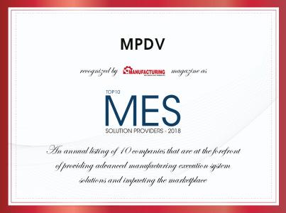 """MPDV is one of the """"Top 10 MES Solution Providers – 2018"""". Image source: Manufacturing Technology Insights"""