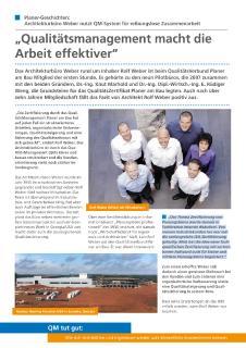 Planer-Geschichte Architekturbüro Rolf Weber, Gosheim: Qualitätsmanagement macht die Arbeit effektiver