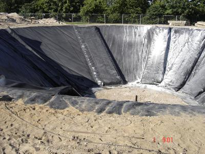 The insulator Poraver in HDPE barrier -chambers used to insulate underground thermal energy storage
