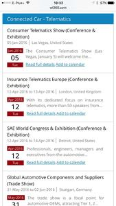 2016 Event Calendar - Connected Car event listings
