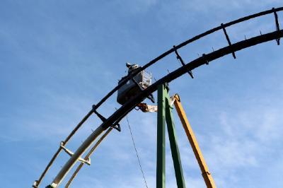 Mit dem Hubwagen ging es bis auf 19 Metern in die Höhe. (Bild: Andreas Stempel)