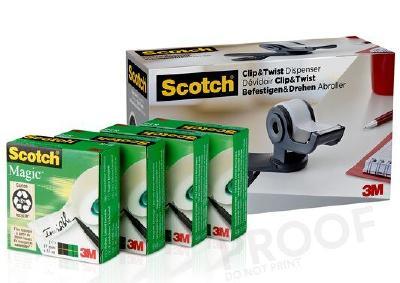 Den grauen 3M Scotch Clip & Twist Klebebandabroller gibt es auch als Vorteilspack mit gleich vier Rollen Scotch Magic Klebeband / Foto: 3M